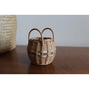 Mini Woven Basket Plant Holder